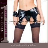Sexy Women Vinyl Leather Panties Garter Lingerie (T1064)