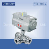 Pneumatic Three Way Ball Valve for Wine and Beverage