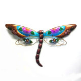 Colorful Stained Glass Flower Decorated Dragonfly Metal Wall Decoration