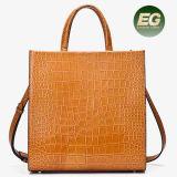 Popular Promotional Ladies Handbag Real Crocodile Leather Bag Latest Women Hand Bag Shaped Like a Square Emg5116