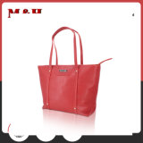Red Multi-Pocketed Ladies Bag Leather Bag Tote Bag for Magazine