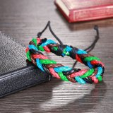 Wholesale Handmade Multicolor Braided Unisex Leather Bracelet