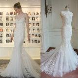 2017 Korea Mermaid 3 Layers Bridal Wedding Dress with Flower Decoration