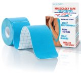 Kinesiology Tape for Athletes, Pre-Cut Strips of Blue Therapeutic Sports Tape for Knees, Shoulders, and Elbows