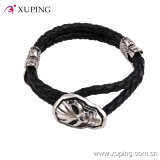 Stainless Steel Men′s Jewelry Skull Mask Bangles in Leather Material