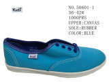 Blue Color Canvas Big Size Women Shoes