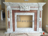 Cararra White Marble Carving Fireplace for Home Decoraction