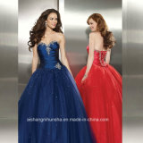 Women Strapless Tulle Sexy Beading Evening Party Prom Dress