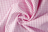 Pink/White Classical Checks Plain Polyester Cotton Shirt Fabric