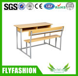 Wooden Double Standard Size School Desk and Chair (SF-33D)