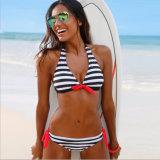 Two Pieces Beachwear Stripes Style Top & Bottom Swimsuit Swimwear