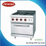 Commercial Gas Burner Cooking Range with Gas 0ven Inside
