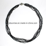 Fashion Gemstone Black Spinel Faceted Beaded Necklace jewelry