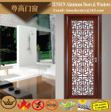 Chinese Style Sandal Wood Grain Aluminium Decorative Casement Door