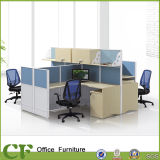 L Shaped Wooden 4 Seater Workstation with Hanging Cabinets