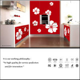 2015 New Colour Painting Design with Flower Kitchen Cabient (FY0897)