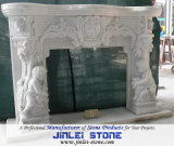 White Grecism Style Granite/Marble Fireplaces