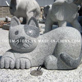 Grey Granite Animal Cat Stone Carved Sculpture for Garden / Landscape
