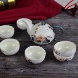White Ceramic Teapot Set with Lotus Flower Painting
