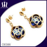 Hypo-Allergenic Stainless Steel Rose Hollow out Sapphire Earrings