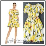 Designer Clothing Manufacture in China Women Fashion Floral Printed Party Dress for Summer