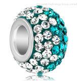 European Rhinestone Crystal Pave Silver Beads
