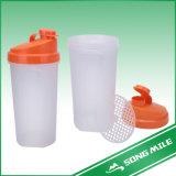 600ml PP Popular Shaker Bottle with Orange Cap and Strainer