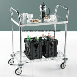 NSF Adjustable 2 Tiers Hotel Stainless Steel Service Cart Trolley