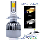 H7 3800 Lumens Best Brightness COB LED Headlight with Dual Color Car LED Light and 35W HID Kits Source The Factory