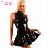 Women′s PVC Zip Front Mini Dress Black Clubwear L60813