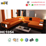 Modern furniture U Shape LED Leather Sofa for Home Living Room (HC1054)