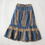 Japanese Cotton Floral Pattern Skirt with Falbala for Girl Clothes