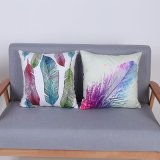 Digital Print Decorative Cushion/Pillow with Watercolor Feather Pattern (MX-89)