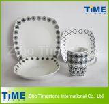 16PCS Modern Decal Design Ceramic Square Dinner Set