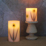 Pack of 2 Flower Pattern Battery Operated Flameless LED Wax Pillar Candles