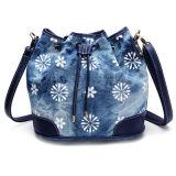 High Quality Printed Flowers Women Bucket Drawstring Ladies Shoulder Bags