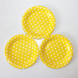 "7"" Party Paper Plate, Round Polka Yellow DOT Paper Plates"