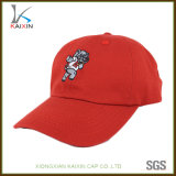 Custom Red Curved Brim Unstructured 6 Panel Baseball Hat