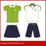 Customized Short Sleeve Cotton Pique School Clothes for Boys and Girls (U37)