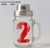 Drinking Glass Cup with Metal Lid/Mason Jar with Matal Lid