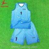 Healong Full Dye Sublimation Sky Blue Eco-Friendly Basketball Uniform