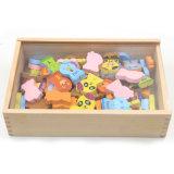 Wooden Christmas Gift Domino Animal Cartoon Blocks Set for Kids Education Toy