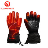 SAVIOR SHGS15B Waterproof Genuine Leather Rechargeable Battery Heated Gloves Skiing Gloves outdoor Sport Gloves real fingers heat(Unisex, full size black)