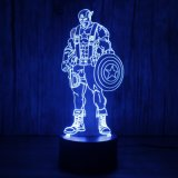 3D Captain America LED Night Light