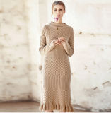 Women′s Cashmere Dress with Round Neck (13brdw053)