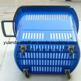 Wholesale Supermarket Plastic Wheeled Shopping Hand Basket