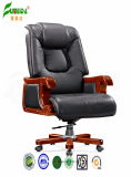 Swivel Leather Executive Office Chair with Solid Wood Foot (FY1313)