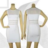 White Mesh Vail Female Bandage Crew Neck Dresses