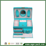 Blue Leather Storage Box with Mirror