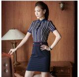 Fashion Designs Poplin Slim Fit Plain Strip Ladies Formal Shirt